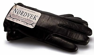 Nordvek Mens Sheepskin Lined Black Real Leather Gloves Genuine 302-100