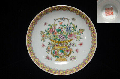 """Pair Of Antique Chinese Painting Flowers High Foot Plates """"Jiaqing"""" Mark"""