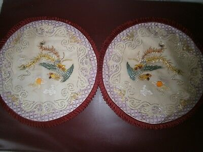 Vintage Pair Of 1970s Chinese Silk & Rayon Hand Embroidered Pillow Covers-Red.