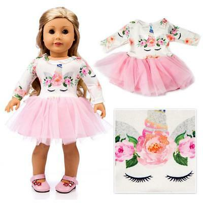 1 x 18 inch American Girl Doll Clothes Accessories White print + Pink Dress