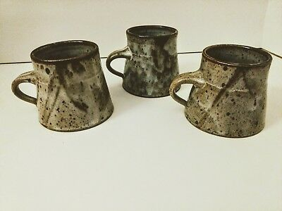 Set of 3 Tea Cup Japanese Rustic Ceramic Style Natural Pottery Signed Pieces