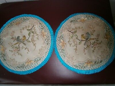 Vintage 1970s Chnese Hand Embriodered 50% Silk & 50% Rayon Pillow Covers-Blue.
