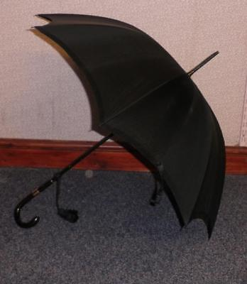 Antique Hallmarked 1933 9 Carat Gold, Silk Canopy Umbrella By Kendall 'A.Rubie'