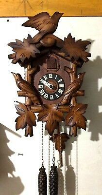 Antique Black Forest Hand Carved Cuckoo Clock Working W/ Weights 1950's-Germany!