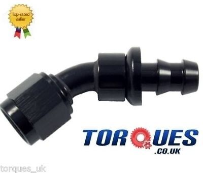 AN -6 (-6 JIC AN6 6AN) 30 Degree Push-On Fuel Hose Fitting In Stealth Black