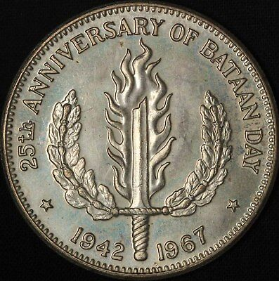 1967 Philippines One Peso - 25th Bataan Day - Free Shipping USA