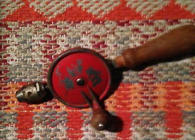 """Vintage 10"""" Egg Beater Style Hand Crank Drill w/ Wood Handle"""