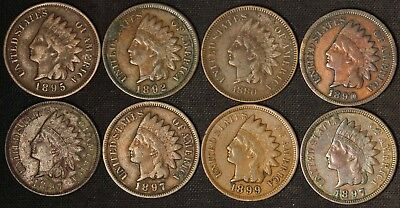 Lot of (8) Indian Head Cents - Full or Nearly Full Liberty - Free Shipping USA