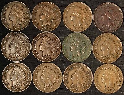 Lot of (12) Indian Head Cents - Full or Nearly Full Liberty - Free Shipping USA