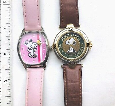 LOT Of 2 Peanuts Wrist Watches - SNOOPY Armitron - SNOOPY & WOODSTOCK Clicks WW