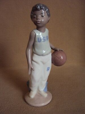 Lladro NAO TIME TO PLAY BASKETBALL Boy African Black Legacy EXTREMELY RARE!!