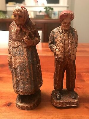 Old Man Old Woman Carved Wood Figurines Distressed Small Statues Folk Art