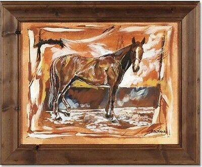 """Marta Wiley """"Stable II"""" ORIGINAL Mixed Media Painting Canvas SIGNED Framed COA"""