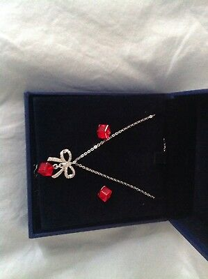 Genuine Swarovski Red Crystal Necklace And Earrings Set