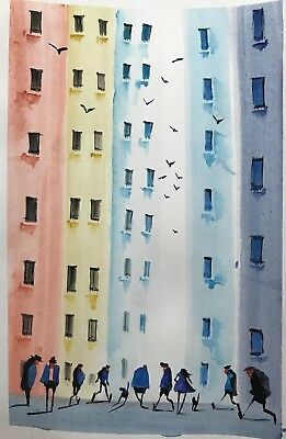 Colourful  town #3654 Original Watercolour A4 paper By Jndox Artist
