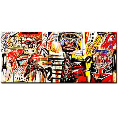 """Jean Michel Basquiat """"Philistines"""" Oil Painting Modern on Canvas Wall Picture"""