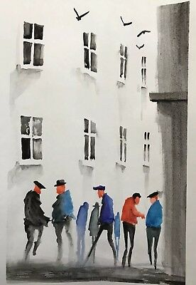Colourful  town #3652 Original Watercolour A4 paper By Jndox Artist