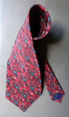 CHRISTOPHER REEVE COLLECTION Men's Neck Tie Red Gray Geometric Design 100% Silk