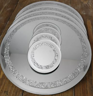 New Glitz Mirrored Silver Crystal Set of 4 Round Coasters & Placemats