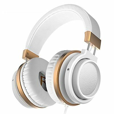Ailihen MX-06 Over Ear Headphones with Microphone and Volume (White/Gold)