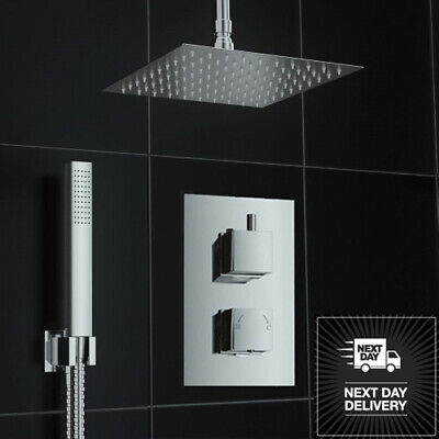 Square Chrome Finish Concealed Thermostatic Twin Diverter Mixer Shower Valve Set