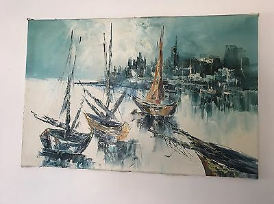 "NY New York Harbour Vintage Oil Painting 36"" x 24"",Signed"
