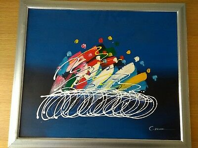 Large framed abstract Oil On Board painting. Vibrant colours. Signed. C.Barr???