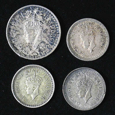 Lot of 4 India-British 1/4, 1/2 Rupee silver coins 1942, 1944, 1945
