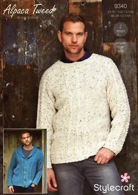 5c11b621d Stylecraft 9340 Mens Cable Sweater   Cardigan Alpaca Tweed Dk Knitting  Pattern