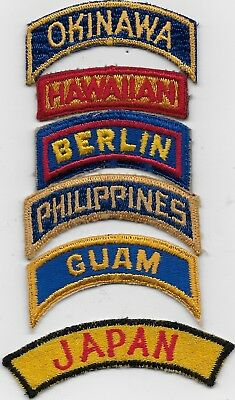 "Rare Original Wwii (6) ""pacific/european Named Tabs"" Tabs/patches - All F/emb"