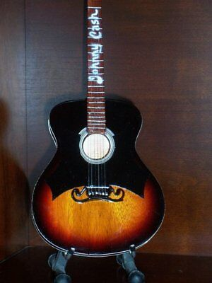 Mini Acoustic Guitar JOHNNY CASH Sunburst Memorabilia  FREE Stand GIFT Art