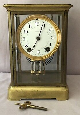 Seth Thomas Brass Crystal Regulator Empire Mantel Clock