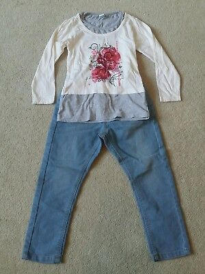 Girls outfit set adjustable waist jeans trousers long sleeved top 4-5 years