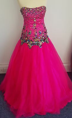 BNWT Precious formals HOT pink and sequin prom dress size 8 SALE #834