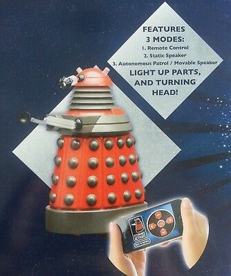 """Dr Who Red Dalek Remote Controlled Rc Bluetooth Smartphone Operated 8"""" Figure"""