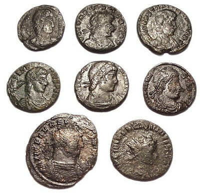 Lot of 8 Æ2-4 Ancient Roman Bronze Coins from III.-IV. Century