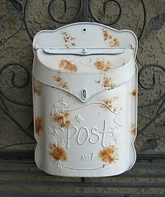 Metal MAILBOX*Rustic White Post*Primitive/French Country Farmhouse Vintage Style