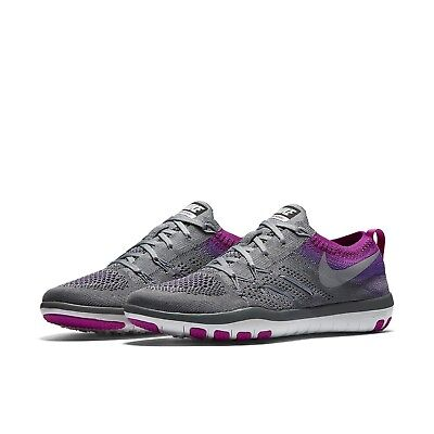 f79ac2f2385 WOMEN S NIKE FREE TR Focus Flyknit Training Shoes NEW Grey Violet ...