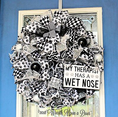 Front Door Wreath, Dog Lovers Wreath, Black and White Wreath, X-Large Dog Wreath