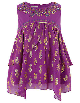 BNWT Girls Monsoon TANSY FOIL Purple Gold Top Tunic 6 age 5-6 years Xmas Gift G