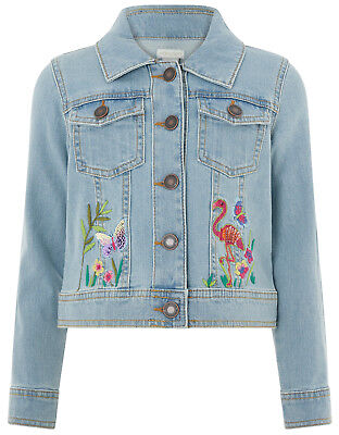 BNWT Monsoon Girls LEILA DENIM Sparkly Sequin Jacket 3-4-5-6-7-8-9-10 Years G