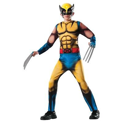 Child's Boys Deluxe Marvel Mutant X-Men Wolverine Halloween Muscle Costume NWT