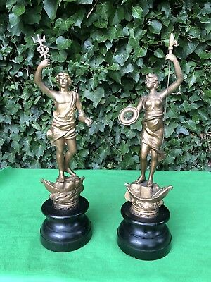 Pair Antique Spelter Sculpture Mythical Figurines Neptune Court