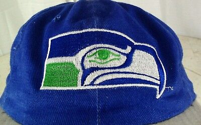 NFL SEATTLE SEAHAWKS Hat Cap Old Logo RARE Corduroy Leather Strap 80 s AJD  USA d183a4a48