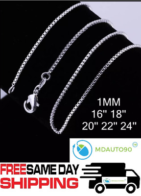 """925 Sterling Silver Box Chain Necklace .925 All Sizes 16"""" 18"""" 20"""" 22"""" 24"""""""