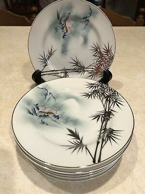 """Vintage Kutani china hand painted  6.25"""" Bread Butter Plates Set of 8"""