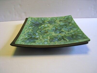 Vintage MCM MONTEREY JADE California Pottery square plate dish tray 9.5 inches