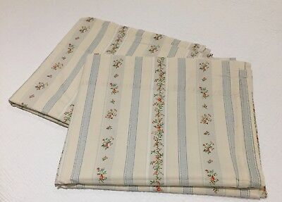 RALPH LAUREN pair of SINGLE-size flat sheets - vintage floral & stripe design