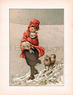 DOG Spitz or Volpino Italiano, Girl & Lamb, 1880s Antique Chromolith Print