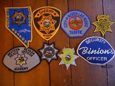 8 diff Nevada police, sheriff and casino security patches Lot A - free shipping